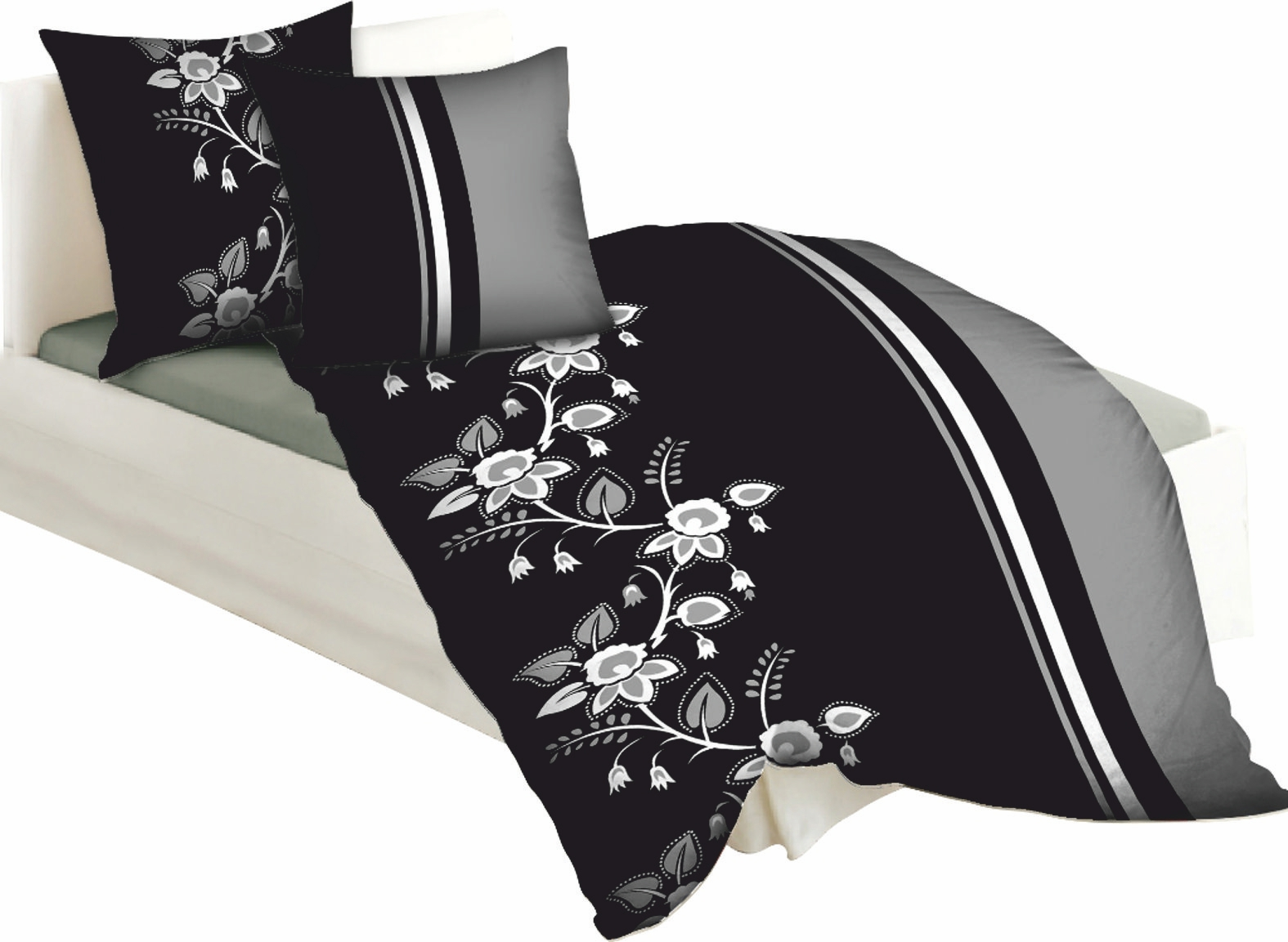 moderne biber bettw sche hnl baumwoll satin bettw sche charley gr n. Black Bedroom Furniture Sets. Home Design Ideas
